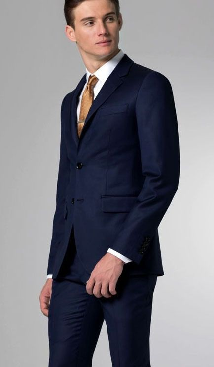 custom made solid navy blue Suit 2 button Wool Suit business suits .