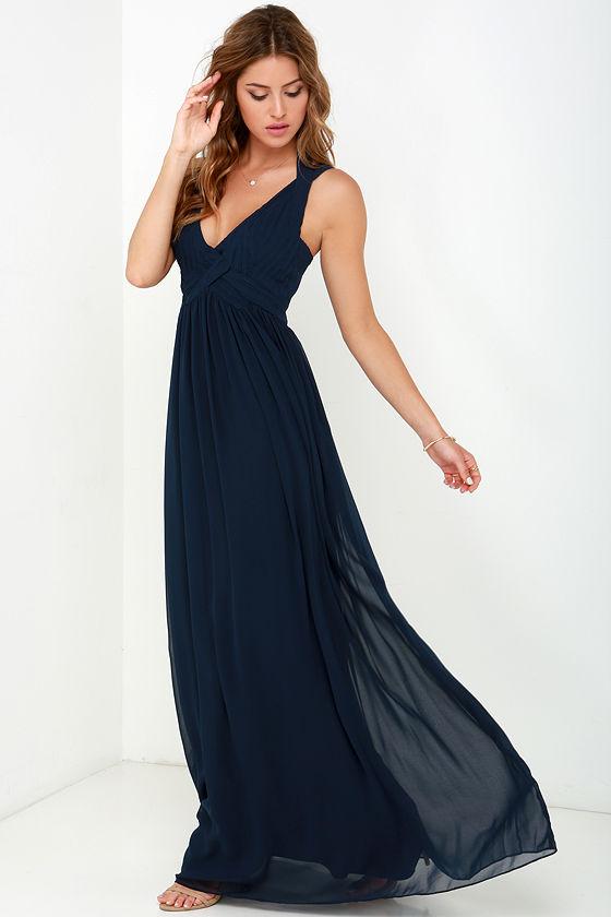 Maxi Dress - Backless Dress - Navy Blue Dress - $88.