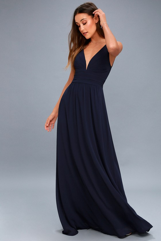 Elegant Maxi Dress - Navy Blue Dress - Plunging Maxi Dre