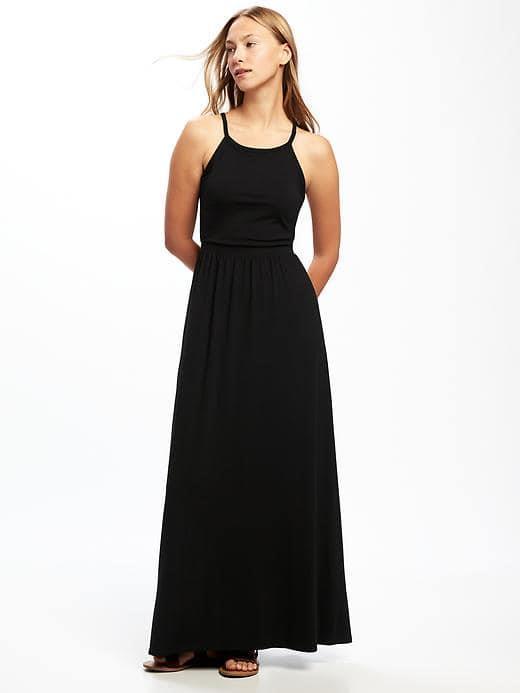 New Old navy High Neck Black Jersey Long Maxi summer Dress Small S .