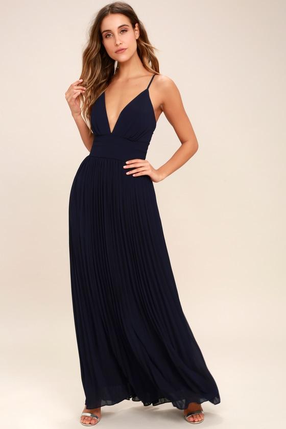 Stunning Navy Blue Dress - Pleated Maxi Dress - Blue Go