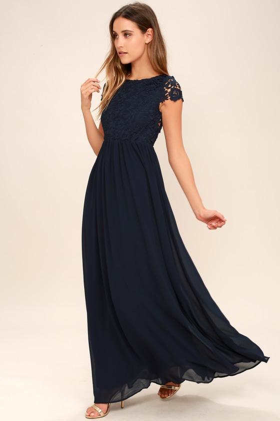 Lovely Navy Blue Dress - Lace Dress - Maxi Dre