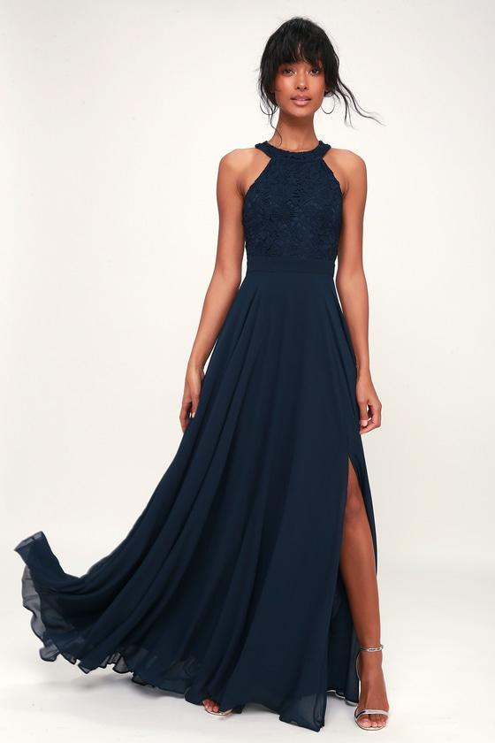 Elegant Navy Blue Maxi Dress - Lace Dress - Halter Maxi Dre