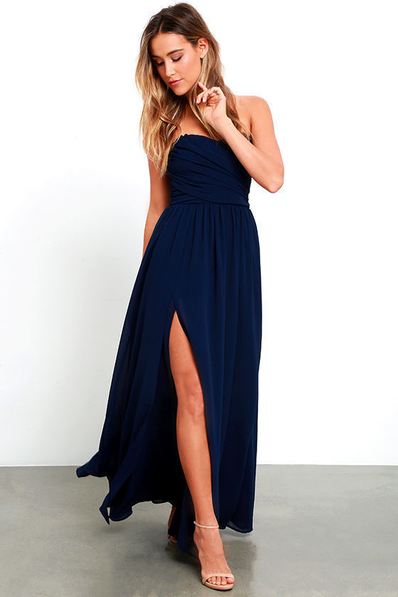 LuLu*s Moonlight Serenade Navy Blue Strapless Maxi Dress, $82 .