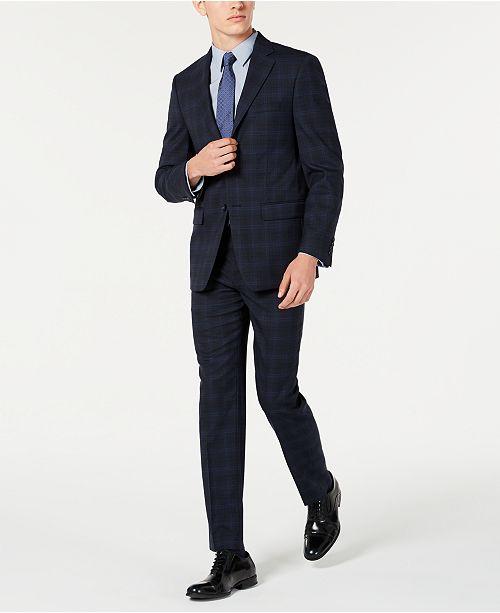 Calvin Klein Men's X Slim-Fit Stretch Navy Plaid Suit Separates .