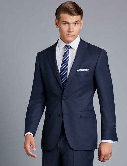 Men's Navy Birdseye Classic Fit Suit - Super 120s Wool | Hawes .