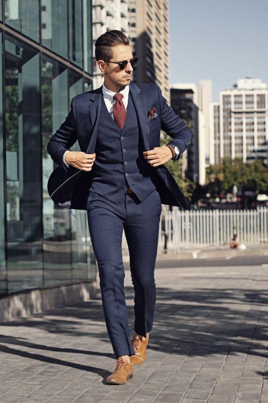 Custom Made Men Suits 3pcs Pants Set Navy Business Wedding Tuxedos .