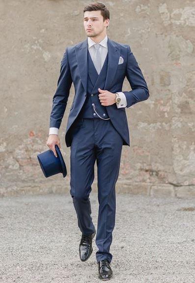 High quality navy blue lapel casual party men's latest suit men's .
