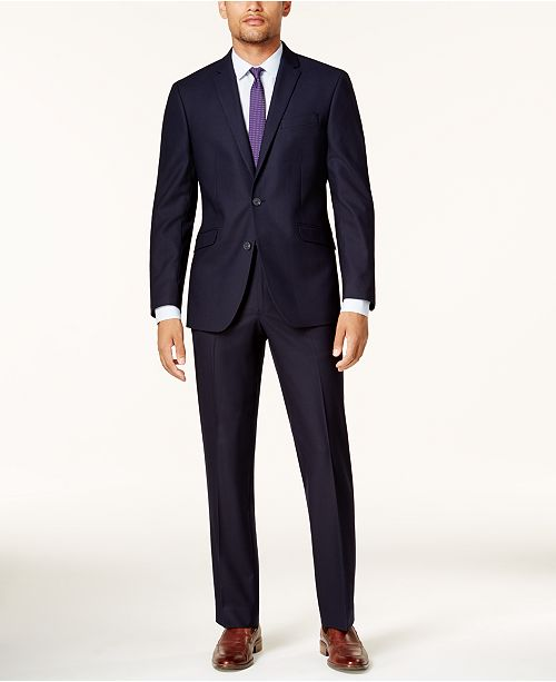 Kenneth Cole Reaction Men's Ready Flex Navy Shadow Check Slim-Fit .