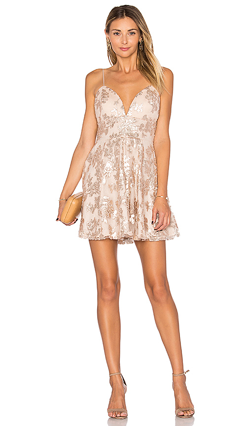 Lovers + Friends Girls Night Out Dress in Gold | REVOL