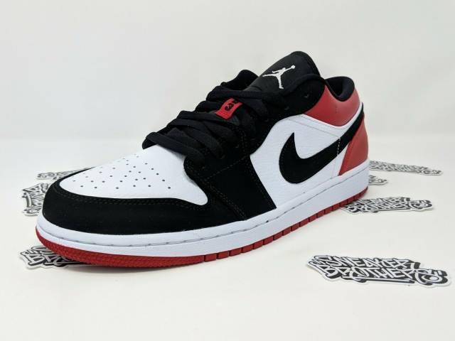 Nike Air Jordan Retro I 1 Low Black Toe White Gym Red Men's 553558 .