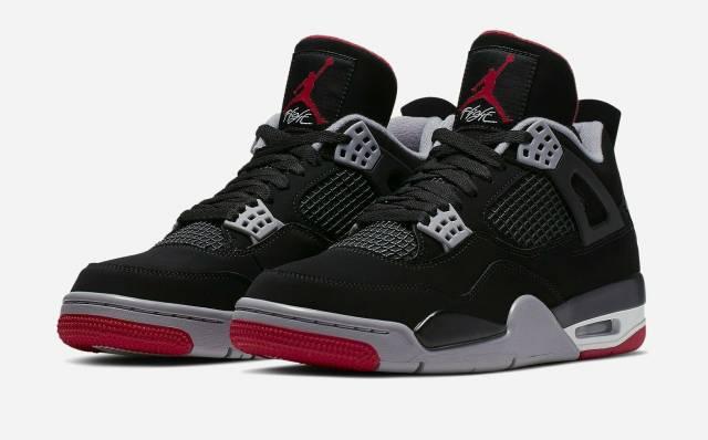Nike Air Jordan Retro 4 Bred Black/Fire Red Cement AUTHENTIC 2019 .
