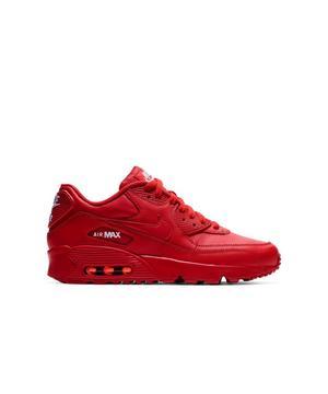 "Nike Air Max 90 Leather ""University Red"" Grade School Kids' Shoe ."