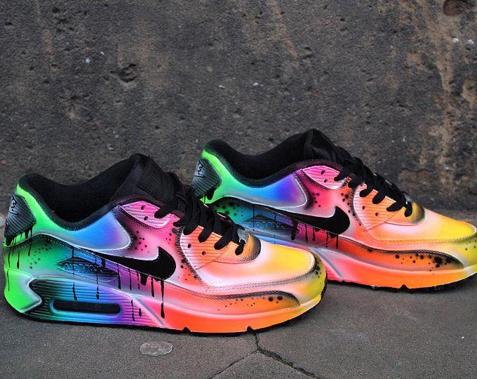 Custom Nike Air Max 90 Funky Galaxy Colours Graffiti Airbrush .