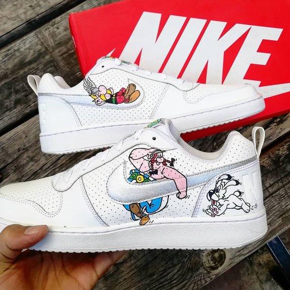 Custom Nike court borough,Asterix & Obelix, custom sneakers .