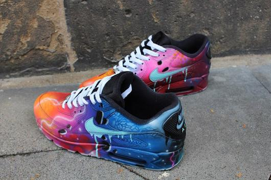 Nike Air Max 90 Blue Galaxy Style Painted Custom Shoes Sneaker .