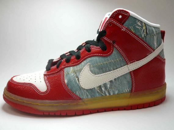 Nike Dunk High Premium SB - Shoe Goo - Silver - White .