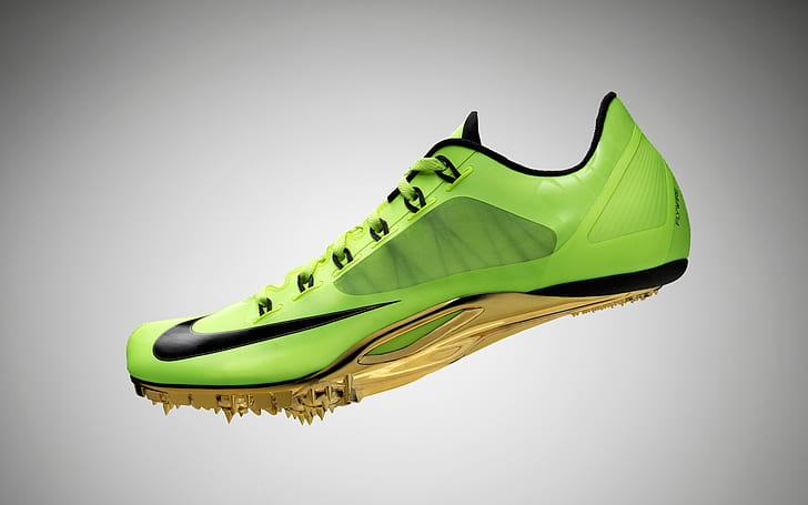 HD wallpaper: Nike Flywire Shoes, green, yellow, and black nike .