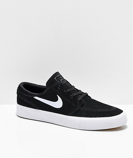 Nike SB Janoski RM Black & White Suede Skate Shoes | Zumi