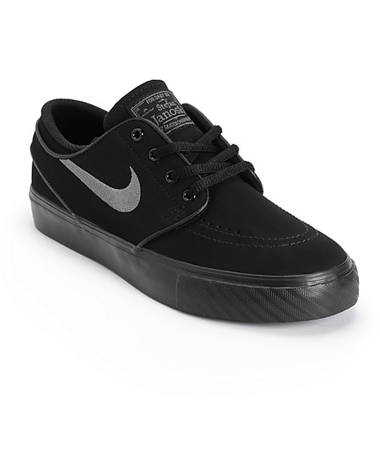 Nike SB Stefan Janoski Black & Anthracite Kids Skate Shoes | Zumi