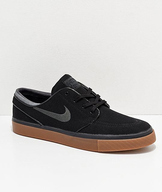 Nike SB Zoom Stefan Janoski Black, Anthracite, & Gum Canvas Shoes .