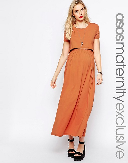ASOS Maternity NURSING Maxi Dress With Double Layer | AS