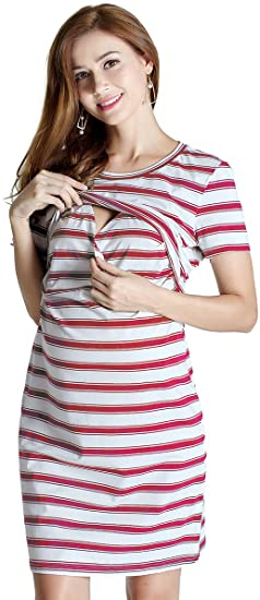 GHO Womens Maternity Nursing Dress Layered Breastfeeding Casual .