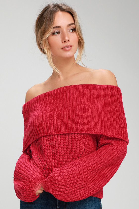 Cute Red Sweater - Off-the-Shoulder Sweater - Red Sweat