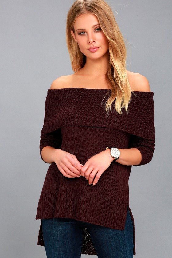 RD Style Plum Purple Sweater - Off-the-Shoulder Sweat