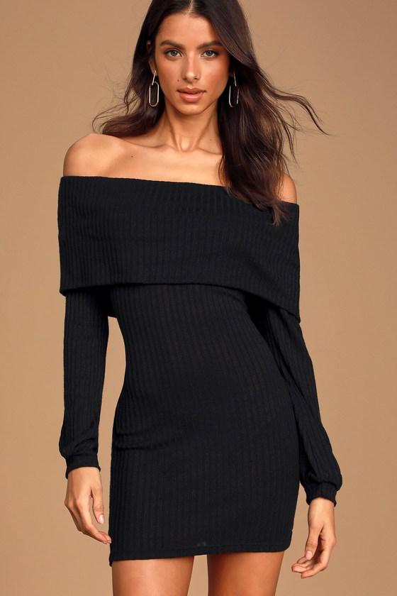 Cute Black Dress - OTS Sweater Dress - Mini Bodycon Dre