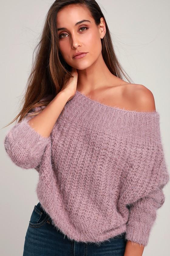 Sweet Dusty Purple Sweater - Off-the-Shoulder Sweater - Sweat