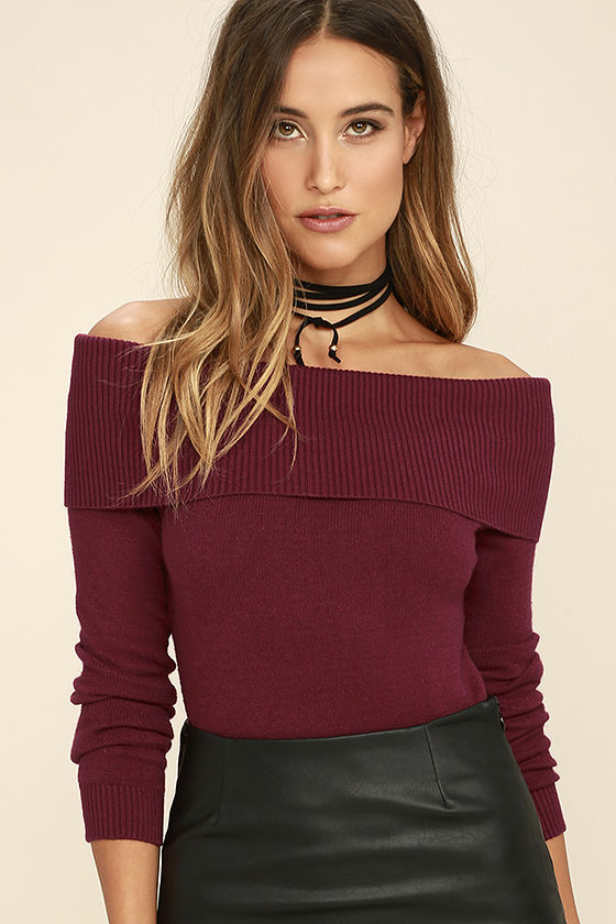 Cozy Burgundy Sweater - Off-the-Shoulder Sweater - Long Sleeve Top .