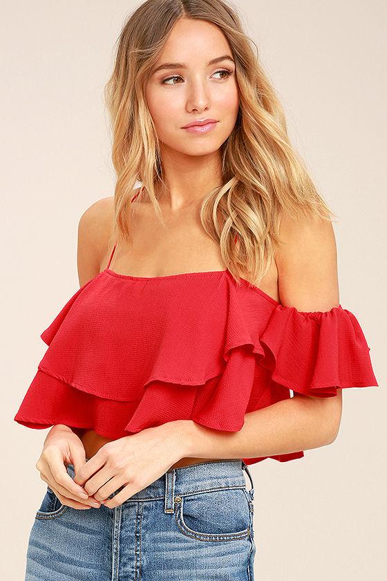 Cute Red Top - Crop Top - Off-the-Shoulder Top - Ruffled T