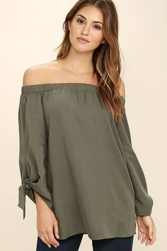Lovely Olive Green Top - Off-the-Shoulder Top - Long Sleeve Top .