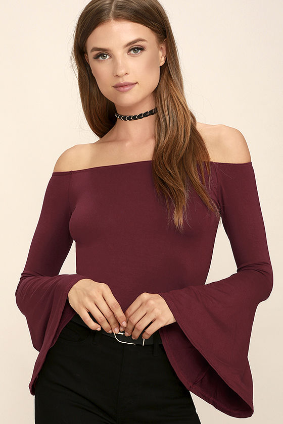Chic Wine Red Top - Long Sleeve Top - Off-the-Shoulder Top - $26.