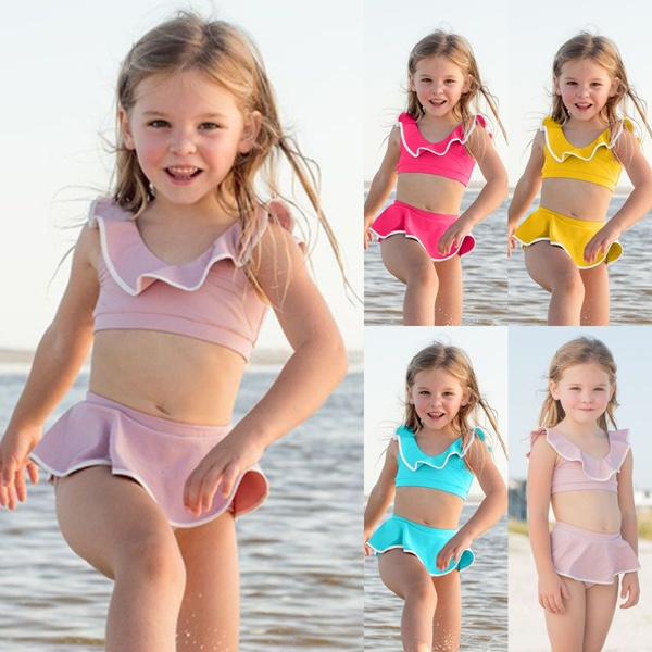 2-8 Years Old Kids Girls Summer Fashion Two Piece Bathing Suit .