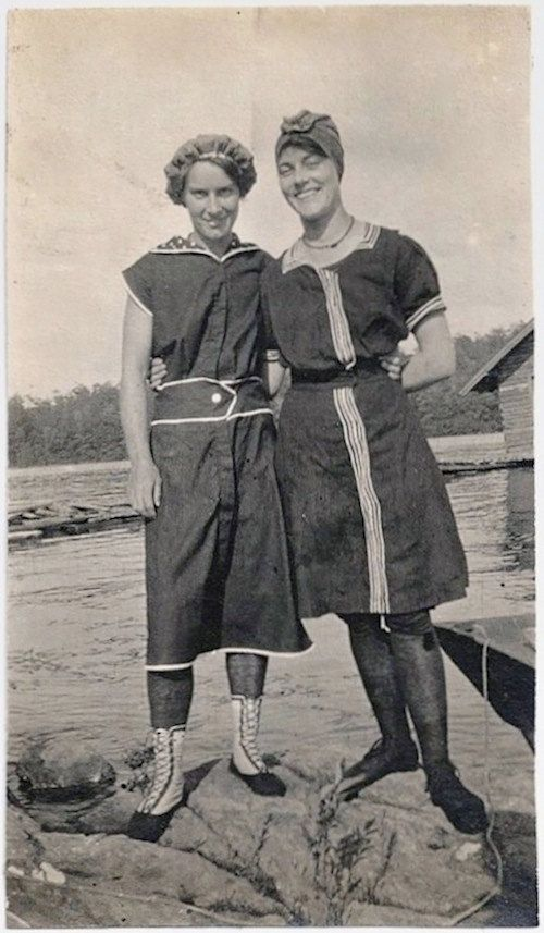 Old Photo 2 Women wearing Swimsuits at Lake Early by girlcatdesign .