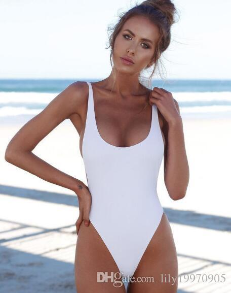 2020 Explosion Models New Solid Color One Piece Swimsuit .