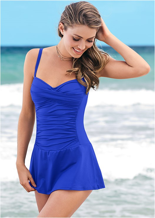 Slimming Skirted One-Piece Swimsuit in Sapphire Blue | VEN