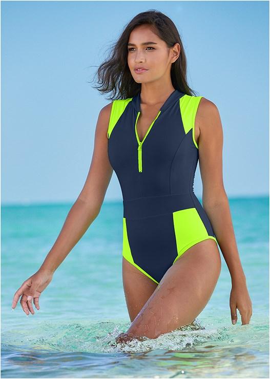 Sleek Zip Up One-Piece Swimsuit in Navy & Hot Green | VEN