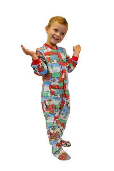 Winter Fun Christmas Print Fleece Onesie Infant/Toddler Footie .