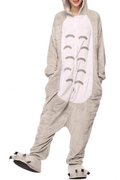 Unisex Fleece Gray Totoro Cosplay Carnival Costume Onesie Pajamas .