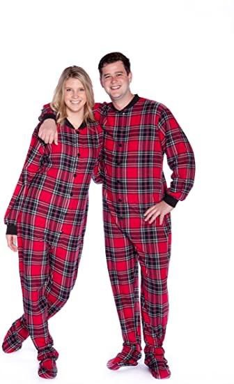 Red & Black Plaid Cotton Flannel Adult Footie Pajamas Onesie .