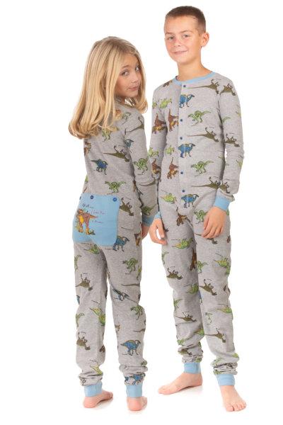 Dinosaur Union Suit Boys & Girls Onesie Pajamas T-Rex on Rear Flap .