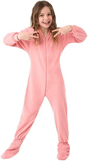 Amazon.com: Big Feet PJs Big Girls Kids Pink Fleece Footed Pajamas .