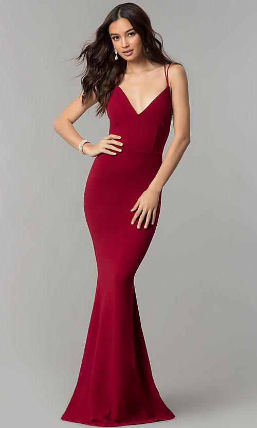 Cheap Long V-Neck Formal Prom Dress with Open Ba