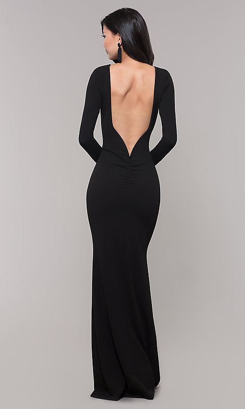 Long-Sleeve Long Black Prom Dress with Open Ba