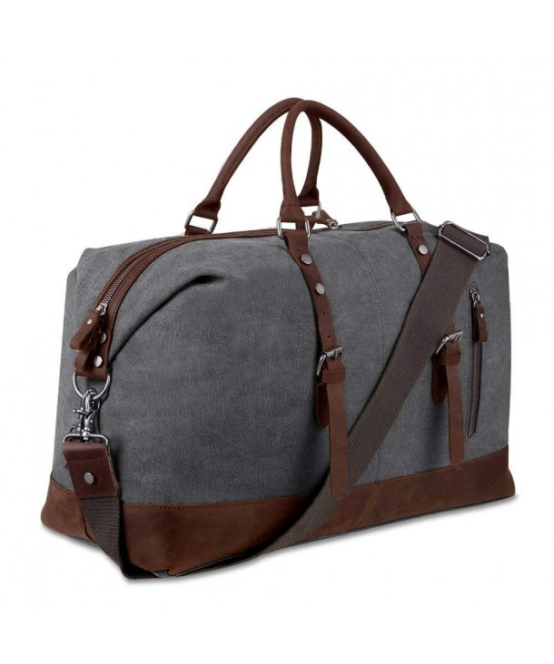 Canvas Overnight Bag Travel Duffel Genuine Leather for Men and .