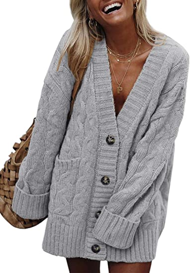 FIYOTE Women Button Down Sweater Coat Casual Open Front Oversized .