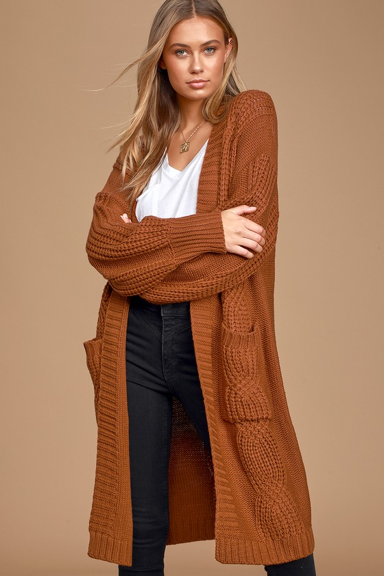 Cozy Rust Cardigan - Cable Knit Cardigan - Oversized Cardig